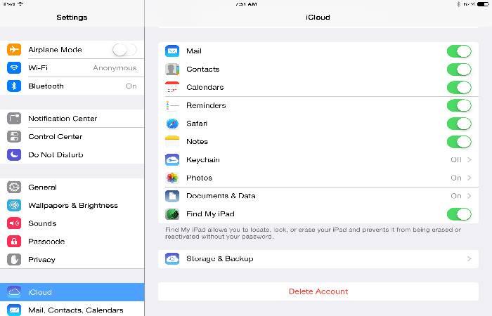 Iphone settings cloud